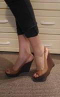 Босоножки на платформе кожаные коричневые, обувь китайского производства, Палласовка