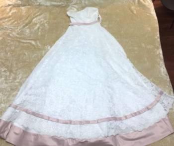 Свадебное платье (б/у 1 раз), платье свободного кроя в полоску