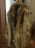 Платье голубого цвета с цветами, жилетка из лисы, Калининград