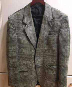 Вязаный мужской джемпер с капюшоном, пиджак 52-56