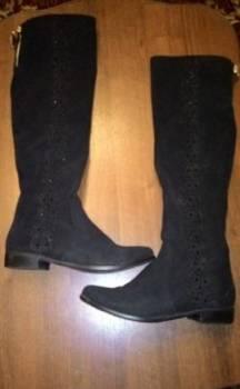 Женские сапоги из велюра, обувь ламода бай
